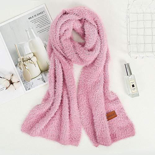 B/H Bufanda Fular Modernas,Bufanda de Felpa Tejida en Color Puro,Linda Bufanda Rosa cálida para Mujer,Cozy Moda Bufandas Largas de Chal Cálido