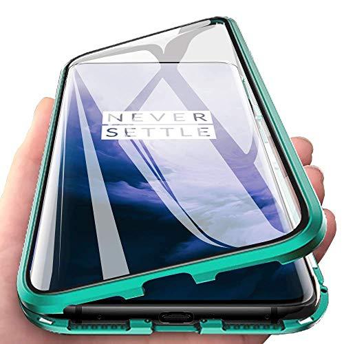 Wishcover Custodia Magnetico per Samsung Galaxy A70,A70 Cover 360 Gradi Full Body Trasparente Vetro Temperato+Alluminio Metal Bumper con Adsorbimento Magnetico Copertura Case per Samsung Galaxy A70