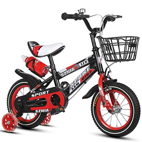 ZPWSNH Kinderfiets 16 Inch Mannelijke En Vrouwelijke Kinderwagen 4-7 Jaar Oude Kinderfiets Hoog Koolstofstaal Frame, Oranje/blauw/rood Kinderfiets (Kleur : Rood)