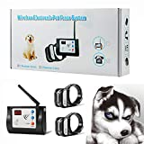 Blingbling Petsfun Electric Wireless Dog Fence System, Pet Containment System and Pets with Waterproof and Rechargeable Training Collar Receiver for 2 Dogs Boundary Container(with 20 Flags)