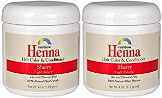 Rainbow Research Henna Sherry Hair Color and Conditioner (Pack of 2) With Lasonia Inermis, 4 oz. each.