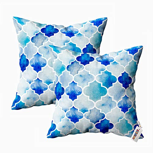 silichee Blue Moroccan Pillow Covers,Pillow Cases Decor 18X18 Set of 2 Watercolor Background Beautiful Hand Drawn Pattern in Moroccan Style Throw Pillow Case for Living Room Sofa Couch Bed