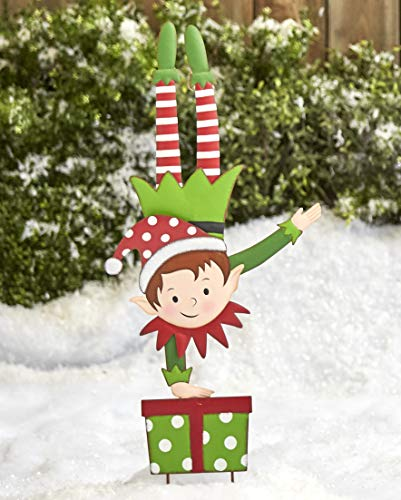 The Lakeside Collection Christmas Elf Garden Stake - Outdoor Holiday Yard Decoration - Handstand Boy