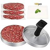 FAVIA Prensa de hamburguesas de aluminio antiadherente con 100 papeles de cera para hacer carne y hamburguesas para barbacoa, sin BPA, apto para lavavajillas