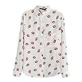 WOVELOT Camisa de solapa blanco de mujer de flores impresas Blusa de impresion de labio rojo Camisas de manga larga M