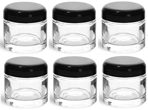 2 Ounce Glass Jars with Black Dome Twist Lined Lids with Gift Card & Envelope (6 Pack, Clear)