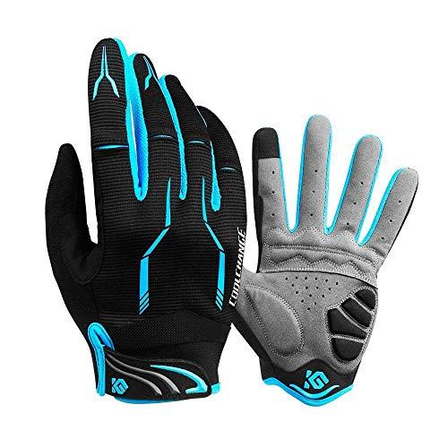 Coolchange Cycle Full Finger Gloves, Mountain Bike Gloves Fox Gel Padded Road Breathable for Men Women (Blue, L)