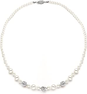 """Mariell Ivory Pearl & Rhinestone Crystal Wedding Tennis Necklace for Women, 20"""" Length, Jewelry for Bride"""