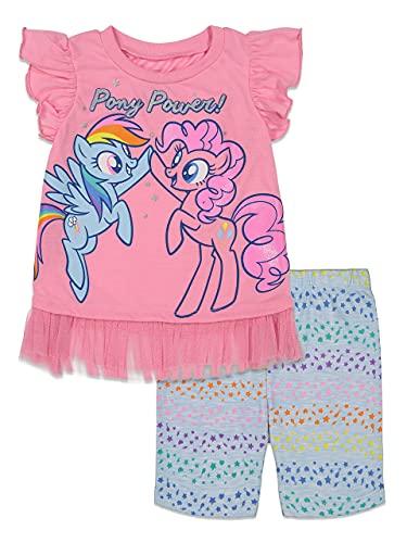 My Little Pony Little Girls Ruffled Sleeves T-Shirt Bike Shorts Set 6 Pink