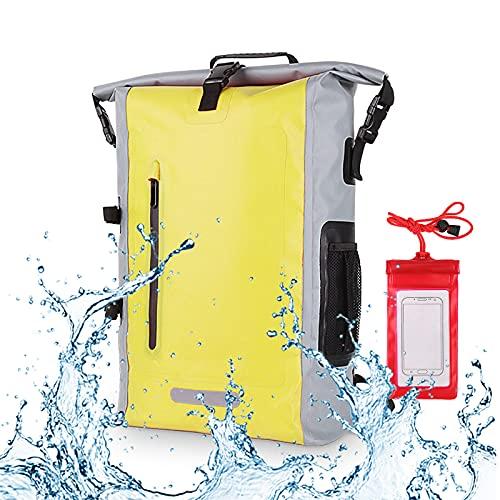YYFGJCC Mochila Impermeable para Deportes Al Aire Libre PVC con Bolsa Seca para Teléfono,Mochila Impermeable para Senderismo Al Aire Libre con Tiras Reflectantes,Yellow