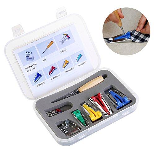 Schrägbandformer Set Stoff Bias Tape Maker Werkzeug Schrägbandformer SetBinding Fuß Ahle Pin Set Quilt Nähen 16PCS