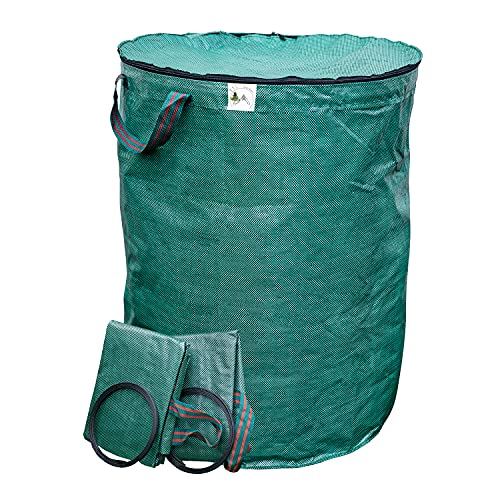 TTL Garden Premium Gartensäcke 3er Set 300l - doppelter Boden, Gartensack mit Reißverschluss und Deckel, extra robust + faltbar, selbststehender Sack Behälter für Gras Laub Gartenabfall Grünschnitt