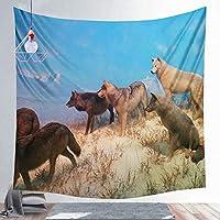 HYTGD-壁掛けタペストリ動物のオオカミと月のタペストリー装飾壁掛け背景壁タペストリーリビングルーム寝室La