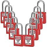 Lockout Tagout Locks, Safety Padlock,Plastic Red 10PCS (1-10)