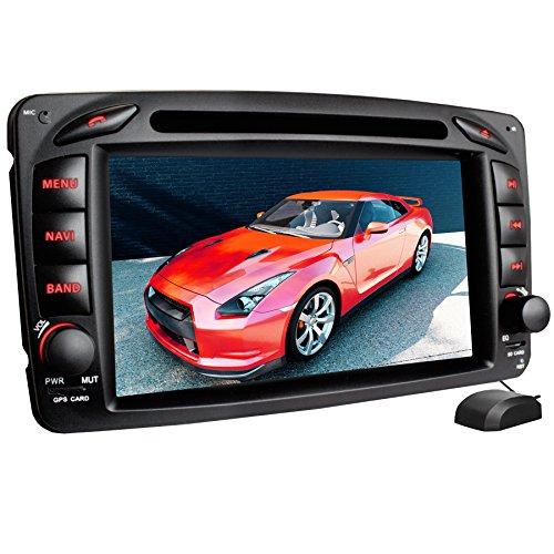 XOMAX XM-01Z Autoradio passend für Mercedes W203, W463 mit GPS Navigation I Bluetooth Freisprecheinrichtung I 7'' / 18cm Touchscreen Bildschirm I USB, Micro SD, AUX, DVD, CD I 2 DIN