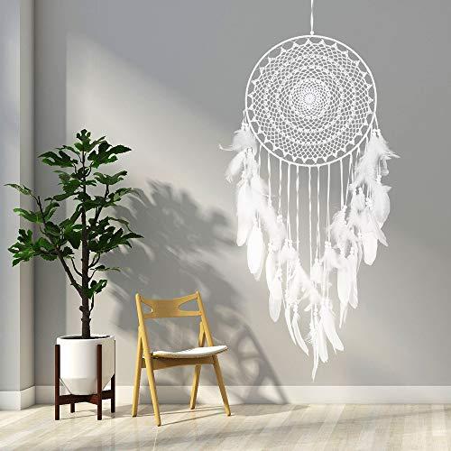 A&Xstore Traumfänger Handgefertigt Mit Feder Und Makramee Heimdekoration Kreatives Geschenk (Weiß)