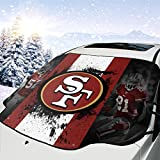 San Francisco 49ers Car Windshield Snow Cover Sun Shade Protector for All Weather - Snow Ice Frost Sun and Wind Car Snow Cover Protection Cover Fits Most Cars