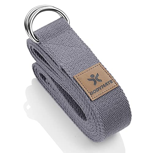 BODYMATE Yogagurt mit Verschluss aus Metall, Yoga-Band für Anfänger und Fortgeschrittene, Yoga-Schlaufe aus 100% Baumwolle, Yoga-Strap 250cm lang und 3,8 cm breit, Cool Grey