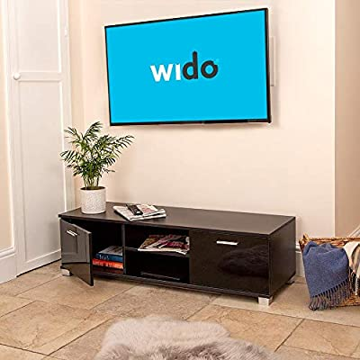 """Wido Small Tv Cabinet Black With Shelves Stand Unit Entertainment For 22""""-55"""""""