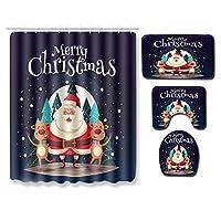 クリエイティブクリスマス要素マットセット、吸収性非スリップマット四点セット(インクルード:シャワーカーテン+ノンスリップ浴室ラグ+コンターマット+トイレカバー)、ソフトで快適な,6,B