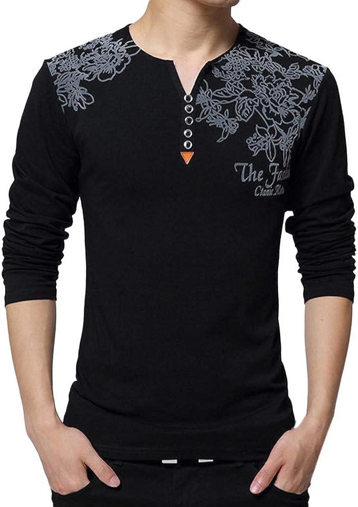 MODOQO Men's Long Sleeve Henley Shirts Casual V-Neck Slim Fit Print T-Shirt