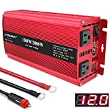 Yinleader 1500 Watts Car Power Inverter 12V to 110V,DC to AC Converter Dual AC Outlets and Dual 3.1A USB Ports for RV Caravan Truck Laptop Camping