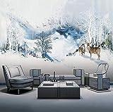 Papel pintado 3D estilo chino, tinta abstracta, pájaro acuario, alce, dormitorio, decoración de pared @ 300 x 210 cm