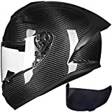 ILM Motorcycle Bike Helmet Full Face Carbon Fiber Shell for Men Women DOT Approved (S, Carbon Fiber)