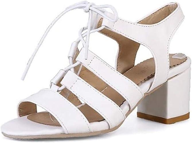 Sandales pour Femmes en Printemps (polyuréthane) sucrées minimalisme Talon Chunky à Bout Ouvert, Noir Beige Rose