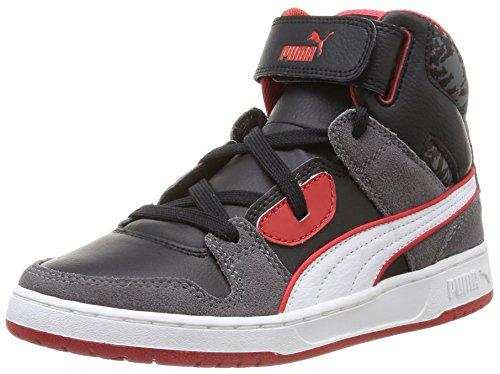 Puma Rebound Street Wcamo Jr Sneaker, Unisex - Bambino, Grigio (steel gray-black-white-high risk red 02), 38.5
