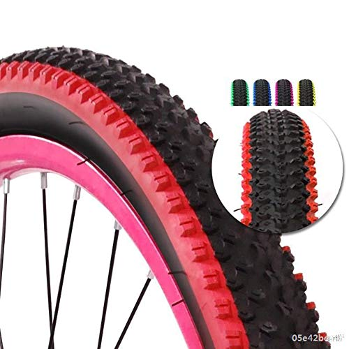 WERFFT 2 Tires 26 1.95 Inch Mountain Bike Tires + Inner Tube Anti-Puncture, Wear-Resistant Color Tires,Red