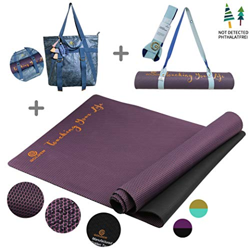 GOLDEN® rutschfest Yogamatte aus Naturkautschuk - Sportmatte für zuhause - XL [183 x 66 x 0,4 cm] - 100{1175694c2a4d8e64df9e45ff128a98d5a009ae512d83599bea031ef4cb6cb2ea} natürlich & ökologisch-Ideal für Fitness Pilates & Gymnastik, mit Yoga tashe & Gurt