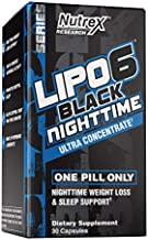 Nutrex Lipo 6 Nighttime Fat Burner | Melatonin Sleep Aid & Weight Loss Diet Pills for Men and Women | Night Time Metabolism Booster Appetite Suppressant | 30 Capsules