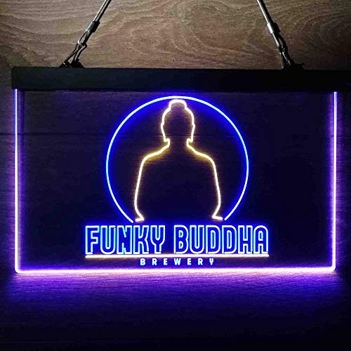 zusme Funky Buddha Brewery Colorful LED Neon Sign Man Cave Light Blue & Yellow W24 x H16