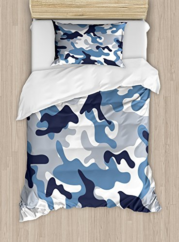 Ambesonne Camouflage Duvet Cover Set, Illustration with Abstract Soft Colors Pattern Camouflage Design, Decorative 2 Piece Bedding Set with 1 Pillow Sham, Twin Size, Blue Indigo