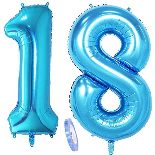2 globos numeros 18 años, Number globo número 18 azul para niñas...