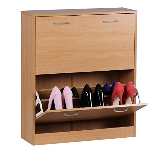 Wohnling schoenenrek Sarah commode smal schoenenkast voor cabinet schoenencommode hal hout, 75 cm breed 87 cm hoog 24 cm diep 20 paar schoenen dubbele rij gesloten garderobe 2 kleppen dubbel, beuken