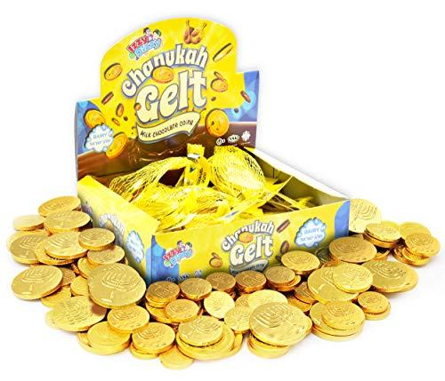 Hanukkah Gelt Coins Chocolate - Kosher Milk Chocolate Coins - 24 Mesh Bags Filled with Menora Embossed Hanukkah Gelt Coins