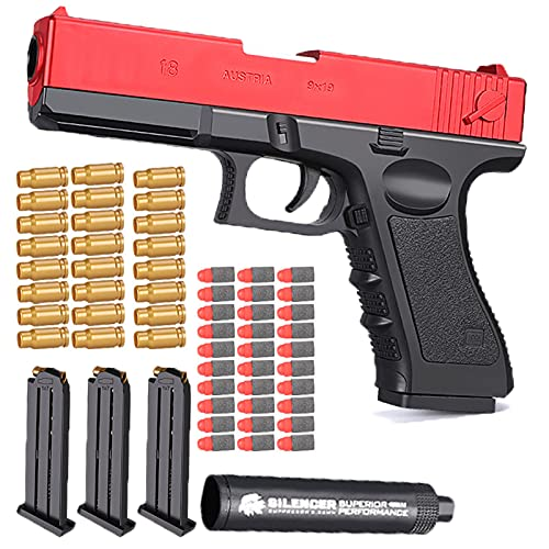 KFGJ M1911 Shell Ejection Soft Bullet Toy Gun, Rubber Bullet Pistol 1:1 Real Dimensions, Ejecting Magazine, Bullets Silencer, The Best Gift for Children, Fun Outdoor Game Red