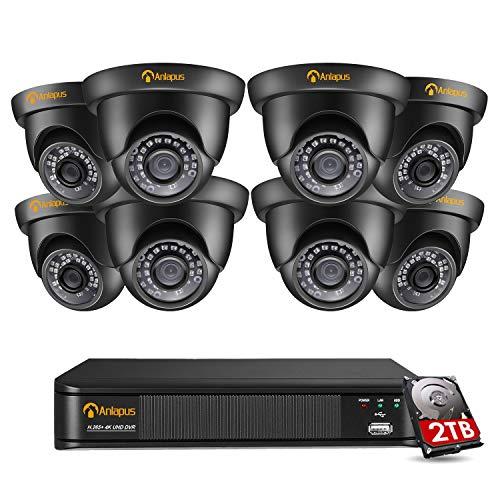 Anlapus 4K Kit de Cámaras Seguridad 8CH 8MP Grabador DVR + (8) Cámara de Vigilancia Exterior, Visión Nocturna, Alarma de Movimiento, P2P, 2TB Disco Duro