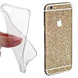 Rhaise iPhone 6S / iPhone 6 GLITZER HANDY FOLIE + HANDYHÜLLE Schutz Hülle Silikon ultra dünn Silikonhülle Glitzerfolie in CHAMPAGNER