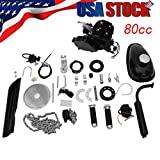 Basde Bicycle Motor Kit 80cc 2 Stroke Motor Engine Mountain Bike Upgrade Kit Gas for Motorized Bicycle Bike Kits Silver