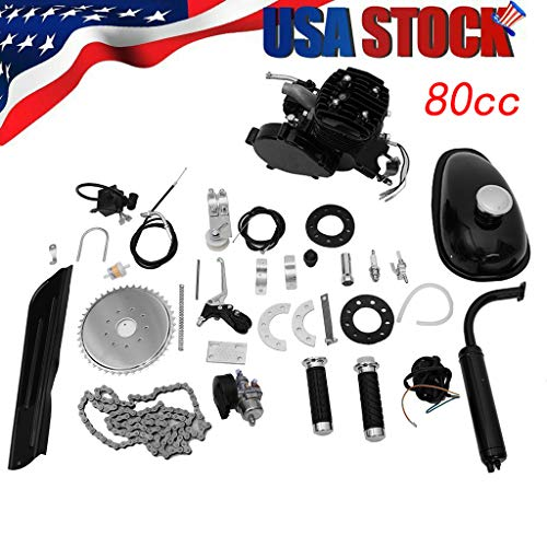XGao 80CC Petrol Gas Motor Bicycle Engine Complete Kit Full Set Motorized Bike 2-Stroke Fit Most 26' Or 28' Bikes to 38km/h 2.5L/100km for Mountain Bikes Road Bikes Cruisers Choppers (Black)