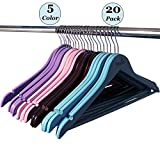 Wooden Hangers by Houzem - Anti-rust Hooks and Non-slip Bar - Maple Strong Wood Hanger for Suit and Coat (Pack of 20)