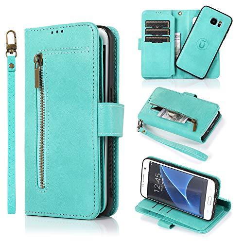 Uposao - Funda tipo cartera para Samsung Galaxy S7 Edge, 2 en 1, multiuso, magnética, antigolpes, poliuretano termoplástico, carcasa y funda de piel sintética con 9 ranuras para tarjetas, color verde