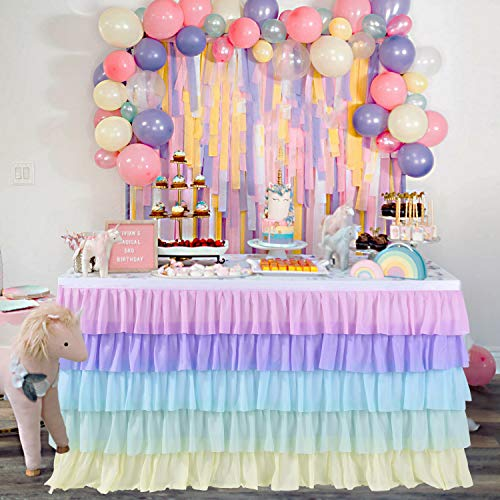 Kamspark Tulle Table Skirt Rainbow Layered Dress for Cake Table Dedoration on Baby Shower, Weddings, Banquets, Unicorn Theme Birthday Party (6 ft)