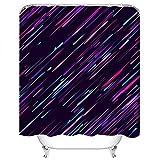 Set di tende da doccia Particelle di Luce al Neon Stelle cadenti Meteoriti Velocità di Volo Spazio Scuro Tessuto in Poliestere Decor con 12 ganci Impermeabile Lavabile 12 asole per bagno
