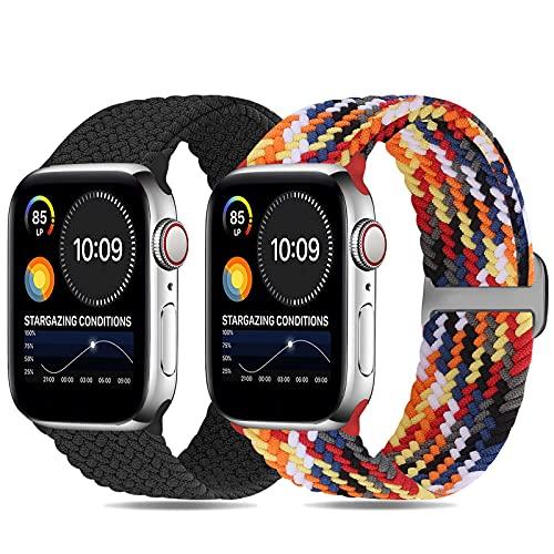 Runostrich Correa trenzada Solo Loop compatible con Apple Watch 44 mm, 42 mm, 40 mm, 38 mm, correa de repuesto elástica compatible con iWatch Series 6/5/4/3/2/1/SE para hombre y mujer, 42mm/44mm,