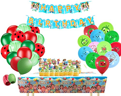 Cocomelon Birthday Party Supplies Baby Shower Party Decorations   Includes Cocomelon Theme Tablecloth, 24 Cupcake or Cake Toppers and Happy Birthday Banner   Party Decorations Favors for Kids Toddlers