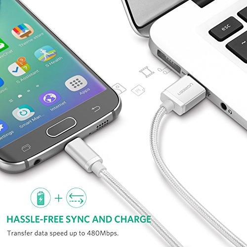 UGREEN Micro USB Kabel Ladekabel Micro USB 2.0 Schnellladekabel Nylon kompatibel mit Samsung Galaxy S7 S6 Edge A10 A7 A5 A3 J7, Huawei P10 Lite, P40 Lite E, Moto Edge, PS4 Controller (3m, Weiß)